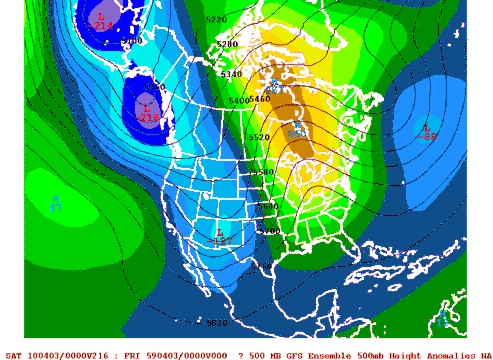 00z March 25 GFS Ensemble 500mb Height Anomalies valid Friday, April 2