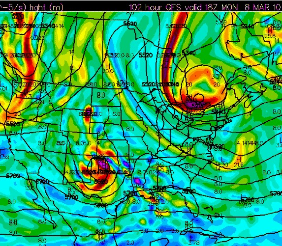 GFS 500mb vorticity forecast valid 18z Monday March 8 (initialized 12z March4)
