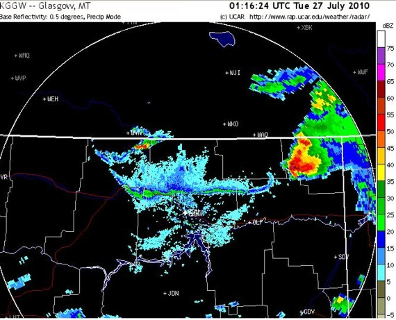 Glasgow, MT radar at 7:16 p.m. MDT July 26, just before the first tornado was reported