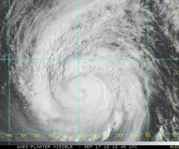 Visible satellite image of Hurricane Igor September 17