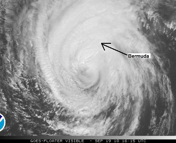 Visible satellite image of Hurricane Igor 16:15 UTC September 19