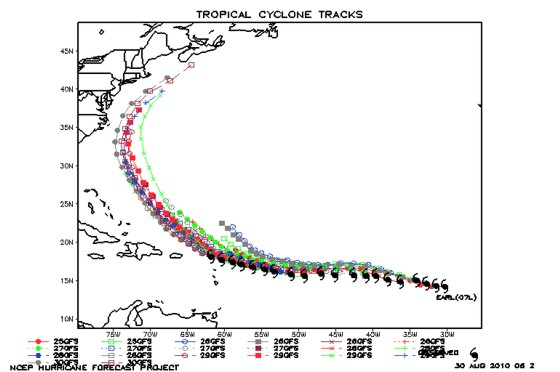 Earl's actual track in black with model forecasts in other colors.  You can see the north bias in the model.
