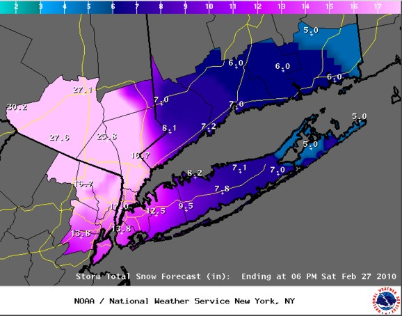 NWS Snow forecast made Friday morning February 26