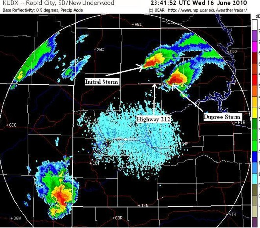 June 16, 2010 radar in northwestern South Dakota 6:41 p.m. CDT