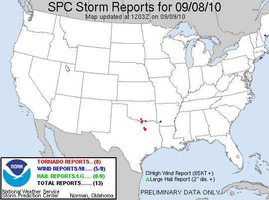 Tornado reports from the SPC for September 8, 2010