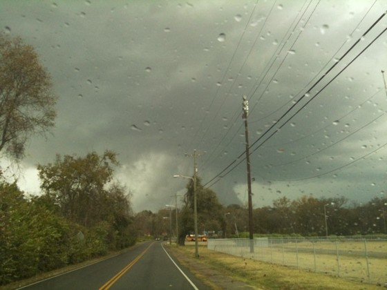 Wall cloud and RFD clear slot on a tornado warned supercell in Middle Tennessee October 26.  Photo by Robert Nacarato.