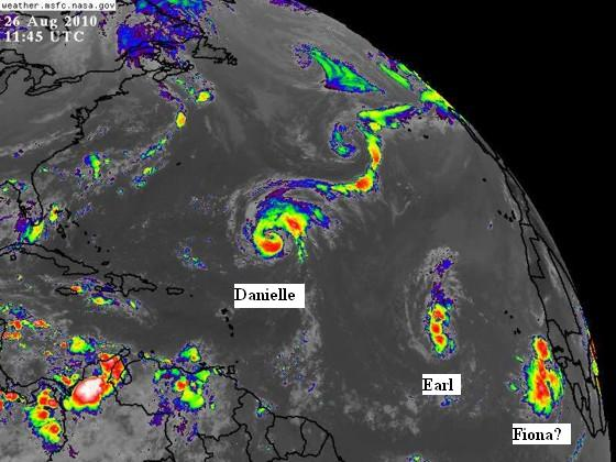 Satellite image on August 26 of the Atlantic showing Hurricane Danielle, Tropical Storm Earl, and a strong tropical wave coming off Africa.