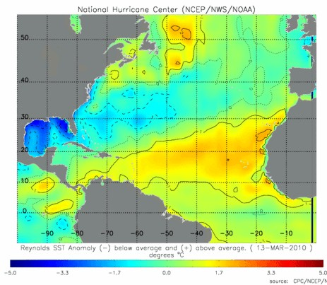 Sea Surface Temperature Anomalies March 13, 2010