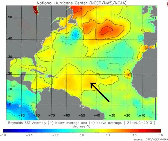 Sea Surface Temperature Anomalies August 21.  Notice the warm pocket that Danielle just moved over.