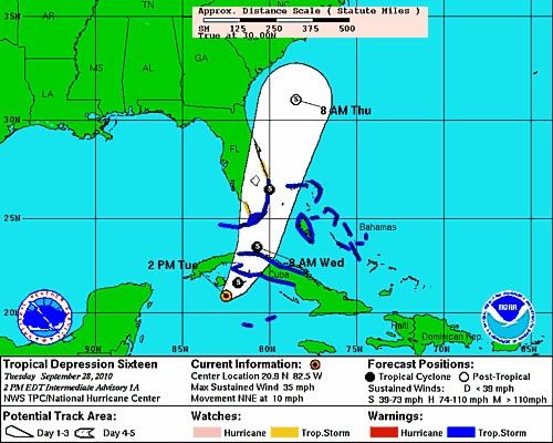 Tropical Depression Sixteen Forecast from NHC