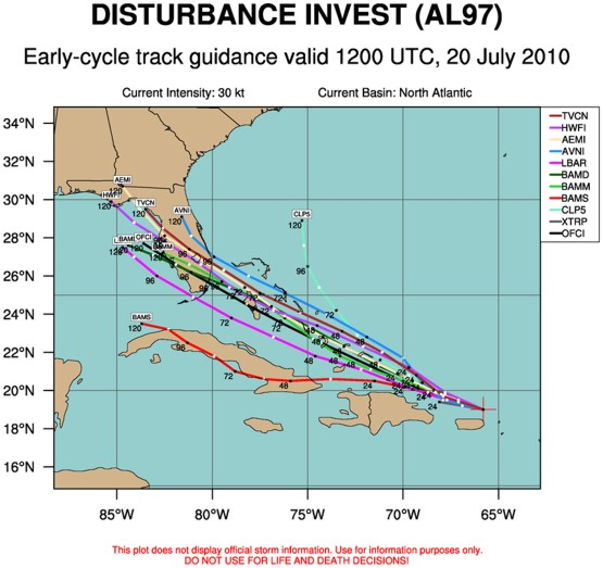 Tropical model guidence for Invest 97 valid 12z July 20