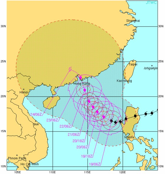 Typhoon 15W (MEGI) forecast from the JTWC valid Oct 19