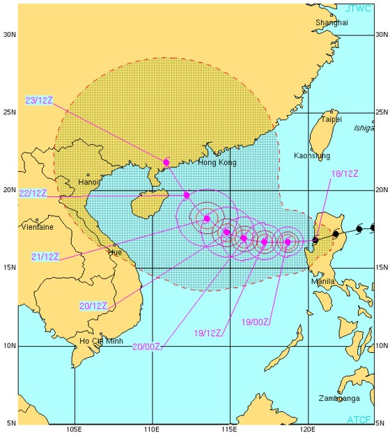 Super Typhoon 15W (MEGI) forecast from the JTWC on 18 October