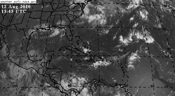 Visible satellite image over the Atlantic basin on August 12