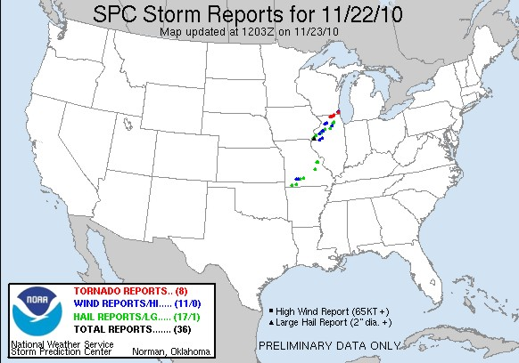 Storm reports for 11.22.10 from the Storm Prediction Center